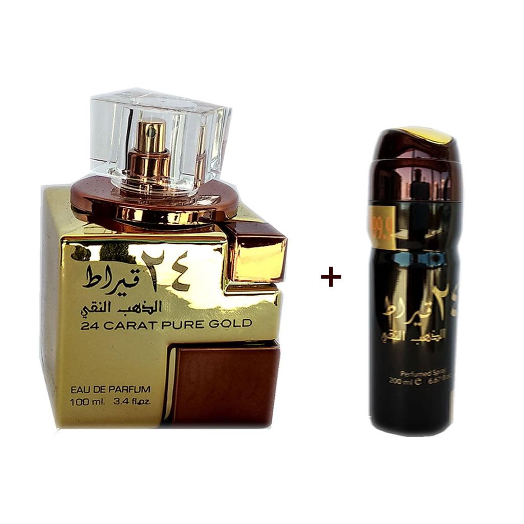 Kit - Perfume Árabe Feminino 24 Carat Pure Gold 100 ml + Desodorante 200 ml - Lattafa